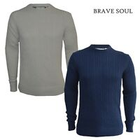 Mens Brave Soul Cable Knit Jumper Long Sleeve Crew Neck Casual Top Size Small
