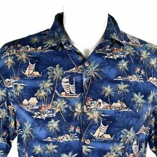 Campia Moda Palm Trees Ships Islands Huts Large Hawaiian Aloha  Shirt