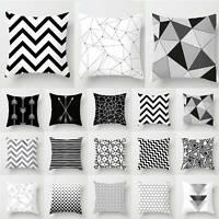 Black White Geometric Cushion Cover Pillow Case Home Sofa Bed Waist Throw Decor