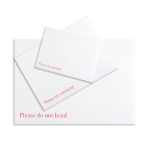 WHITE HARD CARD BOARD BACK BACKED - PLEASE DO NOT BEND - ENVELOPES