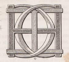Monogramma, cifre, lettere H C bulino del 1882