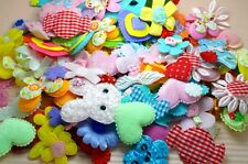 120 Mixed Padded Satin/Felt/Lace/Velvet Appliques~Heart/Flower/Bow~SALE!