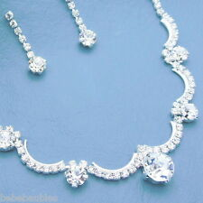Crystal Necklace Set Wedding Bridal Bridesmaid Birthday Gift Prom SILVER SP New