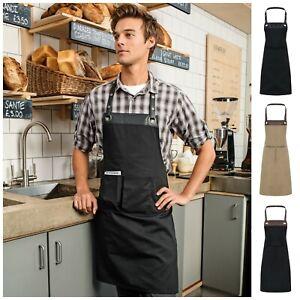 Apron Bib Bistro Cafe Restaurant Chefs Butchers Kitchen Cooking Baking 2 Pocket