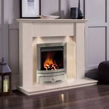 MARBLE CREAM STONE SURROUND SILVER INSET GAS FLAME FIRE FIREPLACE SUITE & LIGHTS