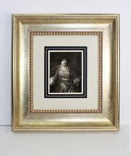 """REMBRANDT 1800s Antique Print """"Artist Rembrandt Wearing Velvet Beret"""" Framed COA"""