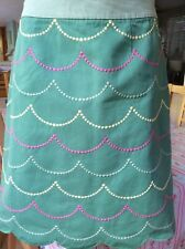 Boden green cotton embroidered skirt size 8R
