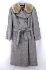 gray fleck VINTAGE 40s wool tweed overcoat fur collar art deco dress coat Small