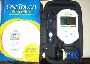 One Touch VERIO FLEX Glucose Testing Meter w/ Case, Manual, Extras (Pre-owned)