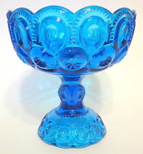 L.E. Smith Moon and Stars Compote Ornate Blue Glass Curio 6 to 7 Inches No Lid