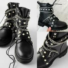 Womens Strappy Metallic Chain Ankle Boots Chunky Pearl Buckle Winter Shoes Size