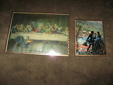 4 Fabulous Vintage Metal Framed Pictures - 3 Silhouette, 1 Last Supper - Look!