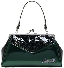 Sourpuss Spiderweb Backseat Baby Purse GREEN vintage style kiss-lock Shiny PU
