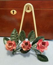 Antique Hand Painted TOLE  Wall PLATE Letter PICTURE HOLDER Victorian ROSES