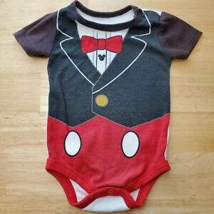 Baby Mickey Mouse Tuxedo One-Piece Costume Bodysuit 3-6 Months