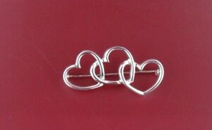 VINTAGE Tiffany & Co. Sterling Silver Triple (3) Hearts Pin Brooch Mexico 925