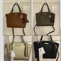 Calvin Klein Tassel Saffiano Leather Small Satchel-Crossbody handbag/ NWT/Variou