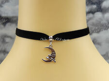 Black Velvet Collar Choker/Necklace 9mm Leaping Rabbit/Hare Moon Wicca/Pagan UK