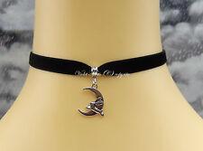 Collar tipo Gargantilla/Collar De Terciopelo Negro 9mm saltar conejo/liebre Luna Wicca/Pagano UK
