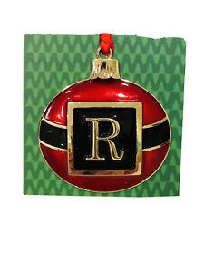 Santa Belt Circular Metal Red Gold Letter Monogram R Christmas Ornament