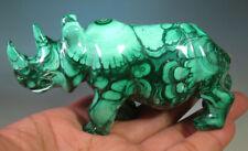 "3.9"" Natural Green Malachite Rhino Rhinoceros Crystal Carving Gemstone *9195"