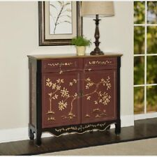 Chinese Narrow Buffet Console Accent Storage Cabinet 2 Door Oriental Black Red