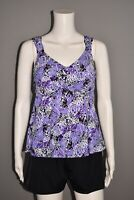 FIT 4 U NEW $94 Wide Strap Sweetheart Tankini w/ Tap Short in Purple Size 6