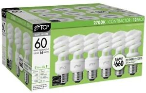 NEW TCP 60W Euqivalent Soft White Compact Fluorescent Light Bulb 12-Pack 8CP1412