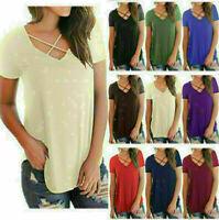 Summer Women V Neck Short Sleeve V-NECK Loose Casual T-shirt Tops Shirt Blouse