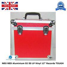 "1 X NEO RED Aluminium DJ Storage Carry Case for 50 LP Vinyl 12"" Records TOUGH"