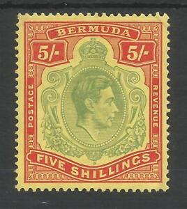 BERMUDA SG118a THE 1939  GVI 5/- PALE GREEN & RED YELLOW FINE MM CAT £375