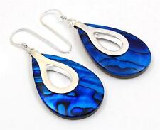 Natural Blue Paua Abalone Shell 925 Sterling Silver Dangle Drop Earrings SD120-A