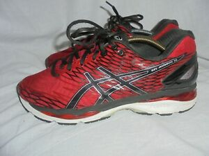 ASICS GEL-NIMBUS 18 MEN RED SYNTHETIC LACE UP TRAINERS SIZE UK 10.5 EU 45 VGC