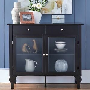 Wood Buffet Storage Display Cabinet w/ Glass Doors in Black Finish