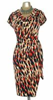 New Planet dress 18 Jersey Animal Black Beige Taupe Brown Orange belt EU 135