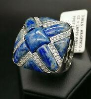 anello grande da donna lapislazzulo e argento 925  GIOIELLO ITALIANO fascione