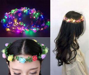 Led Blumen Haarkranz Krone Haarreif Kopfkette Blüten Stirnband Haarschmuck