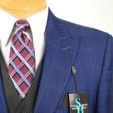44R STEVE HARVEY Dark Blue Check Coordinated 3 Piece Suit - 44 Regular - SB12