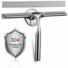 "Shower Squeegee 10"" Stainless Steel Glass Window Matching Hooks Holder 1 Blade"
