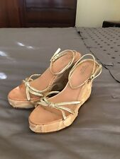 Authentic Coach Espadrille Platform Logo Wedge Sandal Gold/Natural, Size 9.5 B