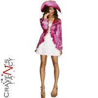 Ladies Pink Pirate Treasure Sexy Adult Womens Fancy Dress Costume 8 -16 New