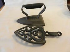Antique Black Metal Clothing Iron with Trivet For Collectors or Door Stop