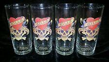 "Ed HARDY ""LOVE KILLS SLOWLY"" Skull Design High Ball Glasses Set 4 14oz Tumblers"