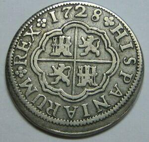 1728 SEVILLA 1 REAL PHILIP V SPANISH COLONIAL ERA ANTIQUE SILVER COIN SPAIN