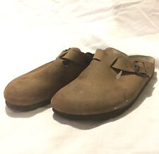 BIRKENSTOCK Men's Dark Brown Leather Clogs Mules 8-8.5