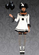 Womens Gothic Black and White Clown Costume