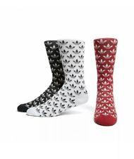 adidas Originals Trefoil All Over Print 3 Pack Crew Mens Socks Size 5.5 - 8