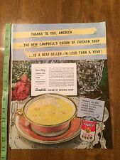 Vintage 40s Campbell's Soup Cream Of Chicken Advertisement Ad Cafe Art
