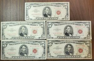 5 Series 1963 $5 United Stats Notes Red Seal