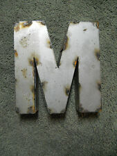 "9"" RUSTIC Reclaimed Metal Industrial LETTER M 2"" thick 3D TIN Sign ARCHITECTURAL"